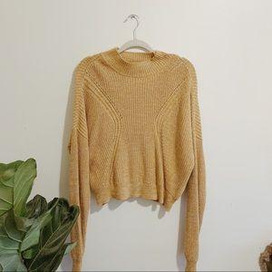 KENDALL & KYLIE Mustard Yellow Mockneck Sweater